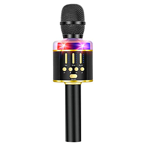 Verkstar Karaoke Microphone Bluetooth Wireless Handheld Speaker with Controllable LED Lights, Mute Vocals,Compatible with Android/iPhone/PC/All Smartphones, Best Gifts(Black and Gold)