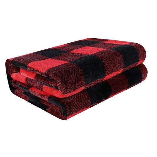 PiccoCasa Karierte Decke Wolldecke Große Decke Tagesdecke Fleecedecke Warme & weiche Wohn- & Kuscheldecke als Sofadecke/Couchdecke Sofaüberwurf Rot&Schwarz 230x230cm
