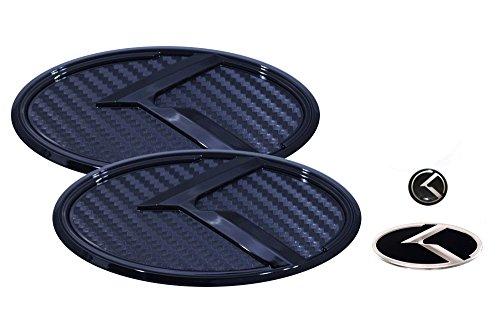 3D K Logo Emblem Carbon Fiber & Glossy Black Edition Set 4pc Front + Rear + Steering Wheel + Mini Sticker (Fit: KIA 2011-2020 Optima K5)