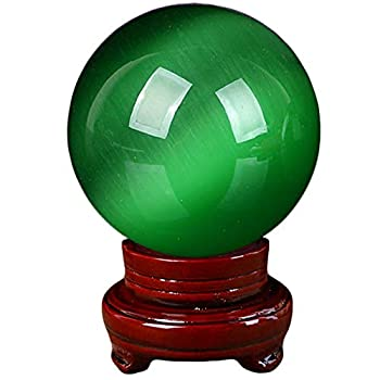 Green Cat s Eye Crystal Ball,Beautiful Rare Green Cat s Eye Crystal Ball with Stand,for Feng Shui Meditation Divination Home Decoration,40mm 1.6inch