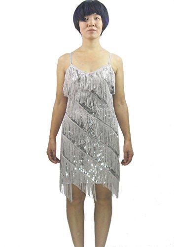 Whitewed Fransen Pailletten Great 20's Gatsby Latein Dance Slip Flapper Kleider 2015 Kollektion - Silber - X-Small/Small