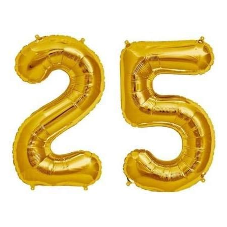 Balloonistics Solid 25 Number Foil Balloon 17 Inch Balloon (Gold, Pack of 2)