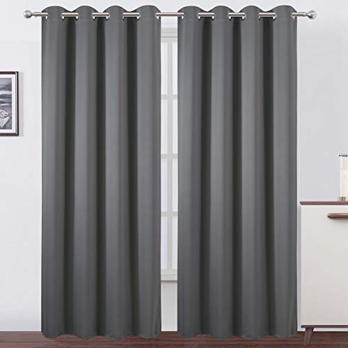 LEMOMO Grey Blackout Curtains/52 x 84 Inch/Set of 2 Panels Thermal Insulated Room Darkening Curtains for Bedroom…