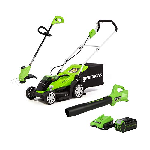 Greenworks 40V 14-Inch Mower/Axial Blower/12-Inch String Trimmer Combo Kit, 4Ah USB Battery and Charger Included, CK40B411