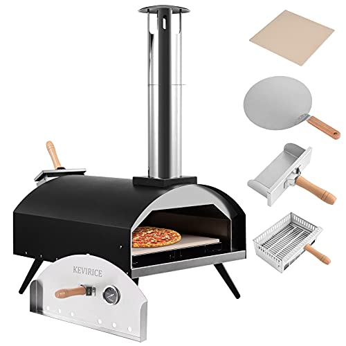 Outdoor Pizza Oven, Portable Pizza Oven with Pizza Stone & Peel,Stainless Steel Wood Fire Pizza Maker for Outdoor Backyard Cooking