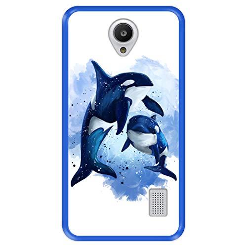 Funda Azul para [ Huawei Y635 ] diseño [ Fauna, Ballenas ] Carcasa Silicona Flexible TPU