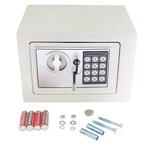 Mini-Safe Digitaler Elektronischer Tresor Sicherheitskasten Feuerfester und wasserdichter Sicherheitsschrank mit PIN-Code und Schlüssel Für Schmuck Bargeld (Weiß)