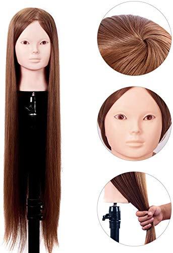 HWXDH Tête de Pratique, 30 Pouces 80cm 100% Cheveux Humains modèle de Salon de Coiffure modèle de marionnette modèle de tête factice, Havemakeup, nomakeup, Nomakeup