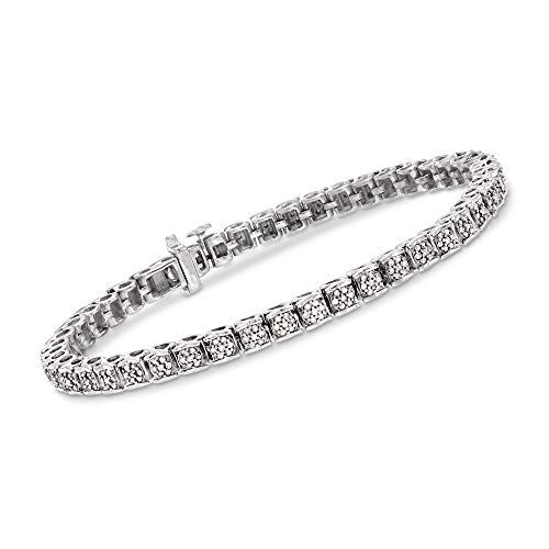 Ross-Simons 1.00 ct. t.w. Diamond Cluster Tennis Bracelet in Sterling Silver. 7 inches