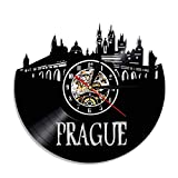 QKSZ Vinilo Reloj Pared Reloj de Pared de Praga, República Checa, Gran Ciudad, Paisaje Urbano, Horizonte Hecho de Vinilo, Arte de Pared, Regalo de Viaje Reloj Pared