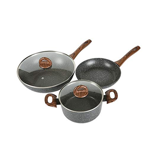 DDSPAL Cooking Noodle Soup Pot Nonstick Pan Set Household Cooking Pot Less Oil Smoke Non-Stick Pot Two-Piece Induction Cooker Gas Universal Wok 30cm + Soup Pot 24cm (Size : Three Sets)