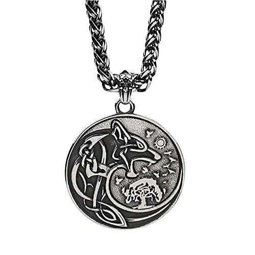 KINGVON - Collar con colgante de runa de lobo celta vikingo Odin para hombre, amuleto rúnico Fenrir...