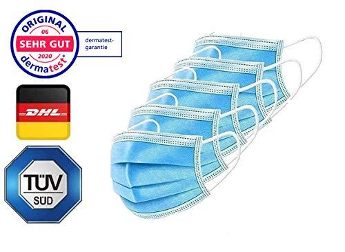 "NEU: Test ""SEHR GUT"" - 50x TÜV zertifizierte Maske Medizinische Mundschutz Maske - TYP II BFE 98% 3-lagige Gesichtsmaske EN 14683:2019 Atemmaske Atemschutzmaske"
