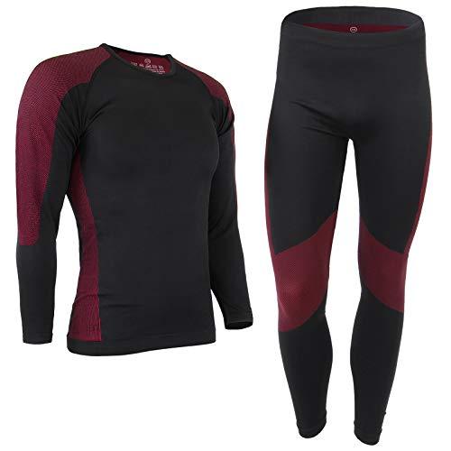 ALPIDEX Set de Ropa Térmica para Hombre, Ropa Interior para esquí - Transpirable, cálida y de Secado rápido, Tamaño:S/M, Color:Negro-Rojo