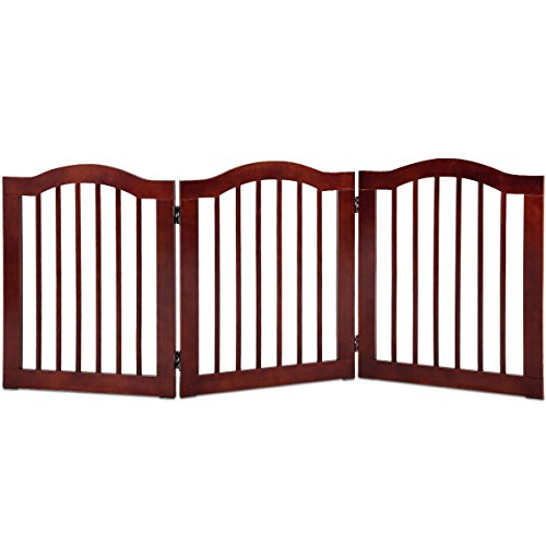 Giantex 3 Panel Wood Dog Gate Pet Fence Barrier Folding Freestanding Doorway Fence Doggie Puppy Fencing Enclosure System Indoor Safety Gate for Dogs (24'')