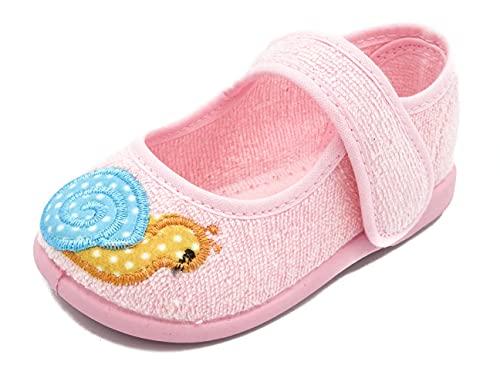 PULIDINES - P0935/2 Zapatilla de casa con Suela de Goma para niña Bebé niña Talla: 24 Color: Rosa