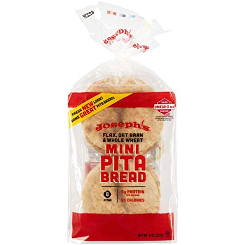 Joseph's Flax, Oat Bran and Whole Wheat Flour MINI Pita Bread With NEW Ridiculously Delicious Pita Bread Recipes! (2 Pack)