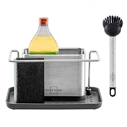 SILBERTHAL Organizador de fregadero para estropajo y bayeta | Organizador limpieza cocina | Acero inoxidable