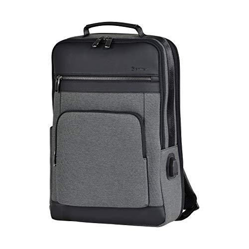 Eminent Laptop-Rucksack Urban Elite 44cm (16 Zoll) 26l USB-Ladeanschluss Diebstahlschutz leicht groß erweiterbar Tagesrucksack für Business Arbeit Reisen Outdoor für Damen Herrn Uni Grau