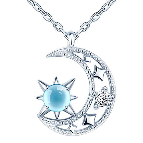 CPSLOVE Collana ciondolo da donna ragazza, ciondolo in argento 925, Pendente in cristallo stella luna, zircone intarsiato, Catena regolabile