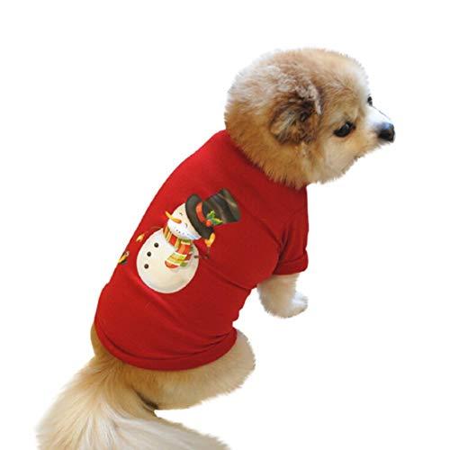 Bluelucon Kerstmis honden T-shirt, comfortabel huisdier sweatshirt gedrukte hondenkleding puppy hondenjas wintermantel honden puppy kledinggrappig rood T-shirt
