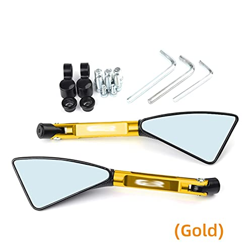 オートバイのバックミラー 鈴木GSR400 GSR600 GSR750 GSR 600 400 750のためのユニバーサルオートバイミラーCNCサイドリアビューフィット (Color : Gold)