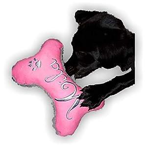 Hunde Spielzeug XXS XS S M L XL XXL Kissen Knochen Hundeknochen Quietscher Jeans PINK bestickt Name Wunschname…