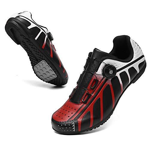 KUXUAN Zapatillas de Ciclismo para Hombres y Mujeres - Bicicleta con Bloqueo de Carretera Zapatillas de Ciclismo Bicicleta de Montaña Sin Bloqueo,Red-C-13UK=(285mm)=47EU