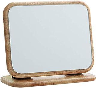 Makeup Mirror HD Wooden Desktop Single-Sided Vanity Mirror Large Beauty Mirror Portable Mirror Simple Desktop Folding Makeup Mirror