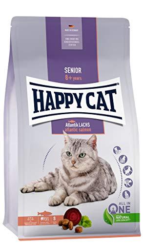 Happy Cat 70612 - Senior Atlantik Lachs - Katzen-Trockenfutter für Katzensenioren ab dem 8. Lebensjahr - 4 kg Inhalt