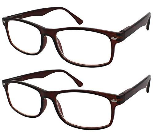 TBOC Gafas de Lectura Presbicia Vista Cansada - (Pack 2 Unidades) Graduadas +2.00 Dioptrías Montura de Pasta Marrón Diseño Moda Hombre Mujer Unisex Lentes de Aumento para Leer Ver de Cerca