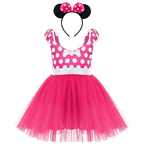IWEMEK Princesa Disfraz de Minnie para Bebé Niña Navidad de los Lunares del Vestido del Tutú de Tul Cumpleaños Fantasía Infantiles Vestido Carnaval Bautizo Ballet Baile con Diadema 6-7 Años