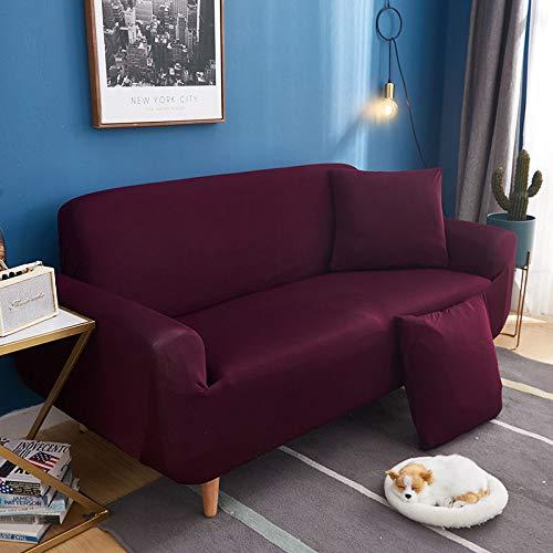Color sólido universal antideslizante todo incluido para cuatro personas 235--300cm elegante violeta,Funda de Sofá Cama Brazos, Cubierta para Sofá de sin Reposabrazos Elástico Plegable Moderno de C