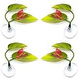 Gobesty Betta Bed, 4 Stücke Betta Hängematte Künstliche Pflanze Blatt für Fisch Rest Laichen Bett Aquarien Aquarium Supply Blätter mit Saugnapf