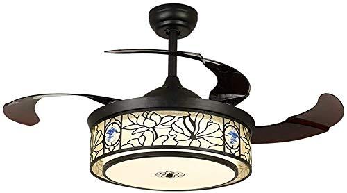 Suge Invisible Techo del LED Ventilador, Chino Retro Lotus Diagrama de Pantalla, Sala Comedor Dormitorio Ahorro de 3 Colores de atenuación de la lámpara (Size : Remote Control)
