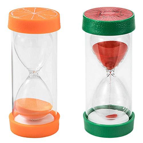 NO CYJZHEU Relojes de Arena Varios Tiempos, 2 Piezas Temporizador de Arena Reloj de Arena 10 Minutos 30 Minutos Fruta en Forma de Juego de Aula para Decoración de Oficina en Casa (Naranja, Rojo)