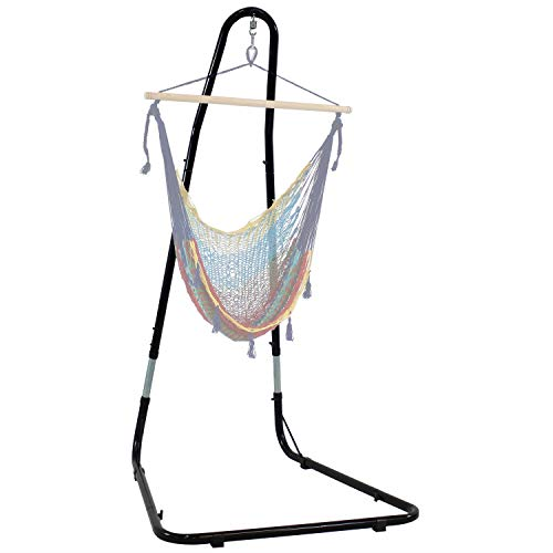 Sunnydaze Adjustable Hammock Chair Stand - 79 to 93 Inch Tall Hanging Chair Stand Only - Heavy-Duty 330 Pound Weight Capacity