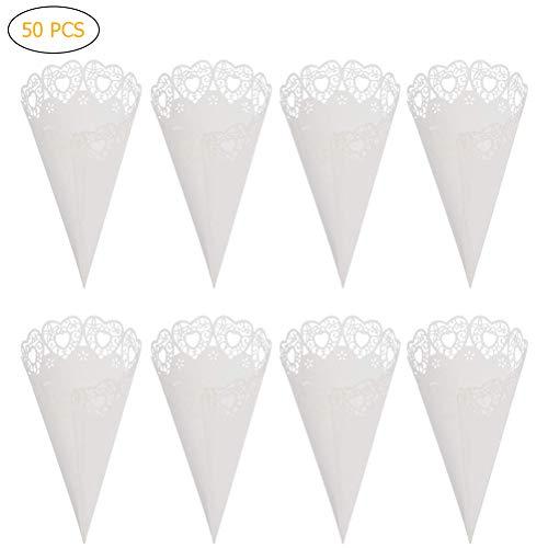 Phayee bruiloft papieren kegel 50 stuks bloesemblaadjes snoepjeshouder gastgeschenken kant papieren kegel handwerk voor boeket, bloemblaadjes, snoepjes, chocolade