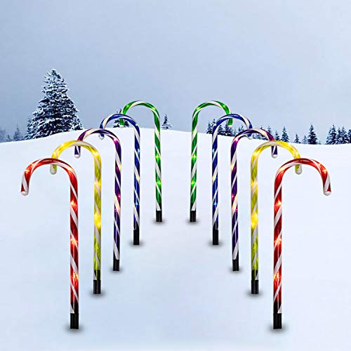 Candy Cane Lights, 10 Pack 21in Christmas Candy Cane Pathway Lights (with Stakes), Markers Candy Cane Outdoor Xmas Decorations Lights with 8 Lighting Modes for Christmas Indoor/Outdoor Decor(Colorful)