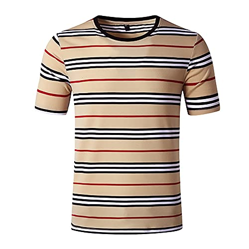 Camiseta Hombre Moda Verano Cuello Redondo Hombre Correr Camisa Rayas Estampado Manga Corta Sin Cuello Shirt Básica Causal Shirt Que Absorbe Humedad Hombres Deportiva Camisa C-Khaki M