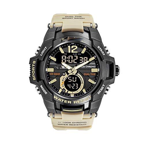 JINSUO Xiaobingjiaju Relojes for Hombres Reloj Deportivo a Prueba de Agua 50M Reloj de Pulsera Relogio Masculino Militario Reloj de Hombre Digital Military Ejército Reloj (Color : Khaki)
