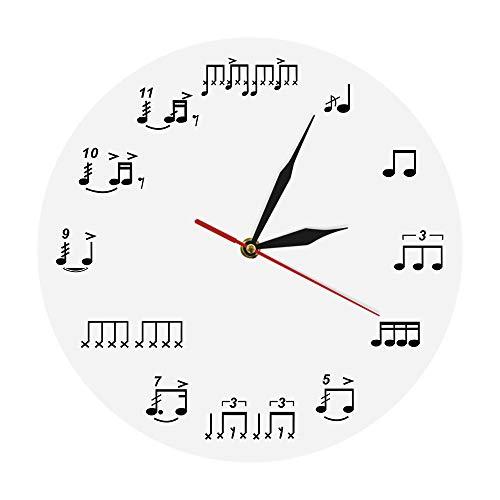 YJSMXYD Relojes de Pared Notas Musicales Dormitorio Tambor Notas Rudim