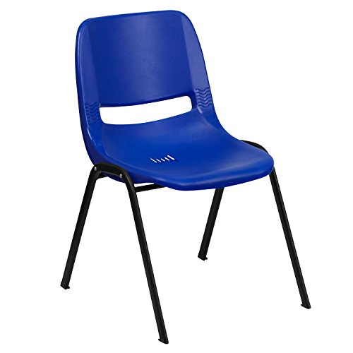 Flash Furniture HERCULES Series 661 lb. Capacity Navy Ergonomic Shell Stack Chair with Black Frame and 16'' Seat Height