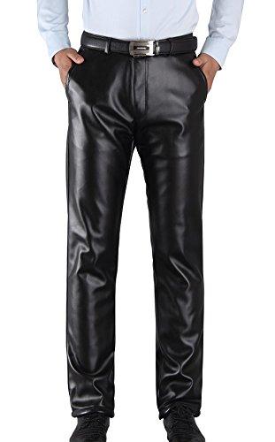 Aieoe Pantalones de piel sintética para hombre