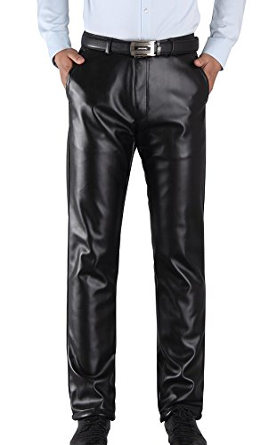Duolunjindun - Pantalones de piel Para Hombre Invierno Evitar el Viento Hombre Ocio Pantalón con Forro Suave Caliente Espesado Resiatente al Agua - Talla EU 46