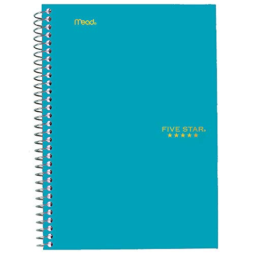 """Five Star Spiral Notebook, 2 Subject, College Ruled Paper, 100 sheets, 9-1/2"""" x 6"""", Teal (06180AA4)"""