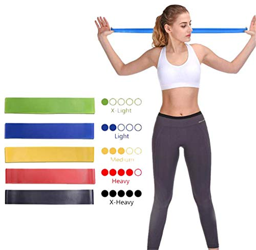 SHIYANLI 5-Set Resistance Loop Bands Natural Latex with Carrying Pouch - Best Home Gym Fitness Exercise Bands for Legs Glutes with Carry Bag for Women Men Workout Physical Therapy Pilates Yoga Rehab