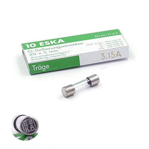Schmelzsicherung, träge (T), aus Glas, 3,15 A / 250 V AC, 5 x 20 mm, 10 Stück