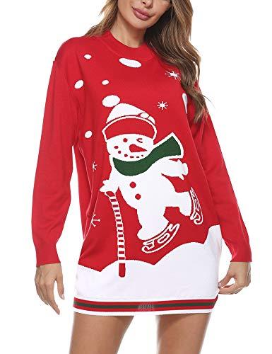 Aibrou Maglioni Natalizi Donna,Maglione Natale Donna,Maglia di Natale Lungo con Pupazzo di Neve e Bastoncini da Sci, Maglione Natalizio Donna per Famiglia Xmas Casa