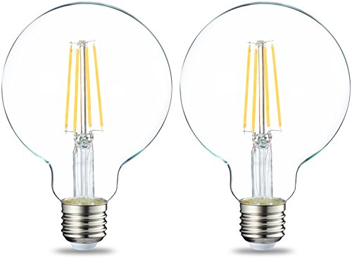 Amazon Basics Bombilla LED Globo E27 con Filamento, 7W (equivalente a 60W), Blanco Cálido, 2 unidades